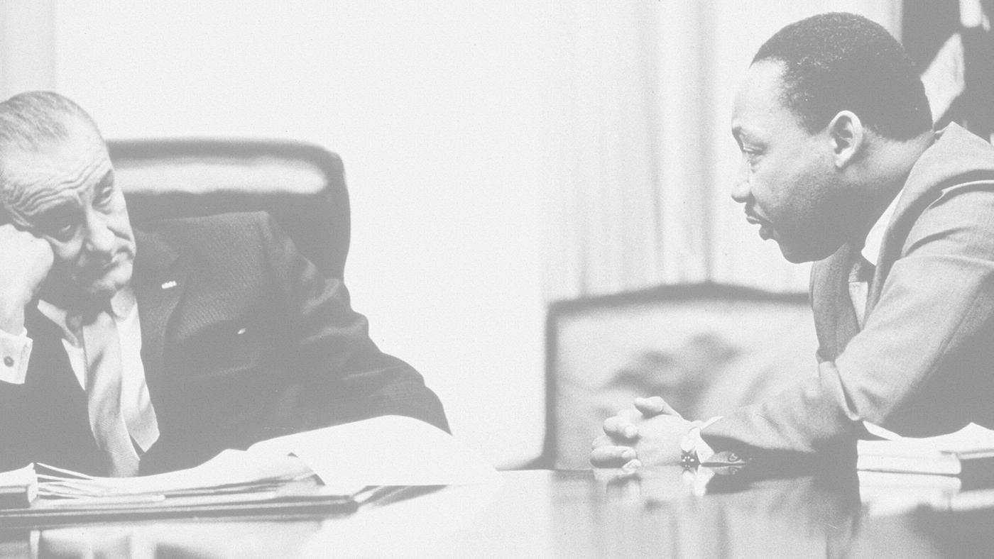 President Lyndon B. Johnson and Dr. Martin Luther, Jr.