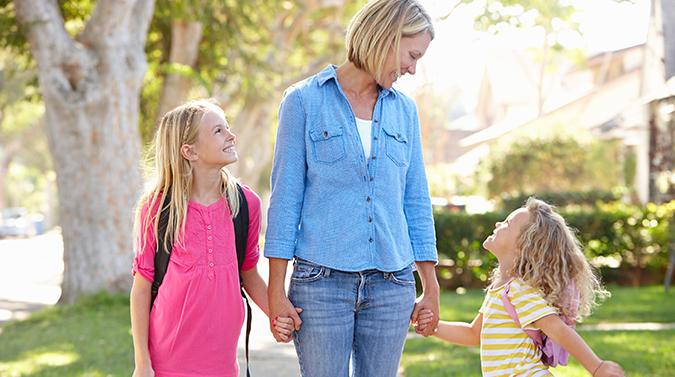 back to school mom and daughters