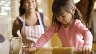 mom and daugther baking kitchen